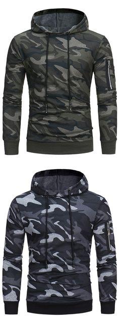 Hooded Camouflage Fleece Pullover Hoodie