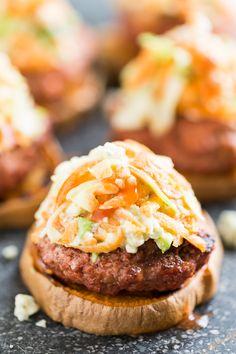 Buffalo Sweet Potato Burgers with Blue Cheese Slaw