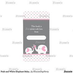 Pink and White Elephant Baby Shower Bookplate