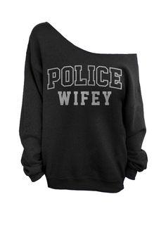 Police Wifey Off the Shoulder Sweatshirt Black by WifeyChic, $29.00