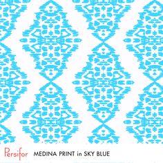 Persifor Medina Print in Sky Blue. Bold, fun Pantone colors. Unique Prints. Morocco.