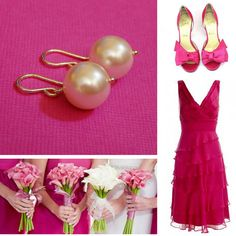 Bridesmaid outfit inspation mini board for a hot pink wedding.