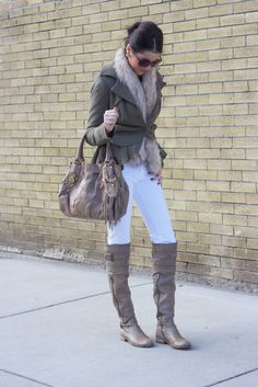 Jacket: Free People {old} | Top: J.Crew | Pants: J. Brand | Faux Fur: H&M {recent} |  Belt: J.Crew | Boots: Steven by Steve Madden {old} | Bag: Juicy Couture {old} | Jewelery: J.Crew, Michael Kors, Nadri, Nashelle   http://www.thepinkpeonies.com/search/label/my%20looks?updated-max=2012-01-30T07:30:00-08:00&max-results=20&start=22&by-date=false