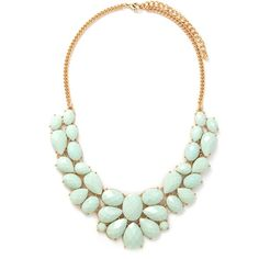 Forever 21 Faux Gemstone Statement Necklace ($9.90) ❤ liked on Polyvore featuring jewelry, necklaces, forever 21 jewelry, artificial jewellery, chain necklaces, fake jewelry and chains jewelry