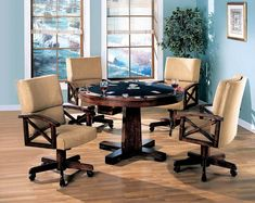 100171-72 5 pc Millwood pines walser marietta man cave walnut brown finish wood game room table , poker, bumper pool, dining Game Room Tables, Table Games, Pool Tables, Bumper Pool Table, Black Dining Room Furniture, Kitchen Furniture, A Table, Dining Table, Dining Chairs