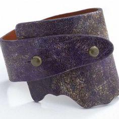 Artisan Genuine Wide Wrap Unque Leather Bracelet - Washed Violet Color