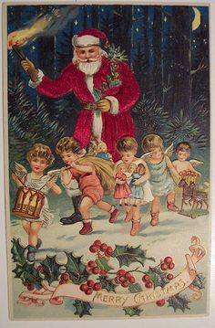A Victorian Christmas postcard Vintage Christmas Images, Christmas Past, Victorian Christmas, Father Christmas, Vintage Holiday, Christmas Pictures, Christmas Angels, Christmas Greetings, Christmas Postcards