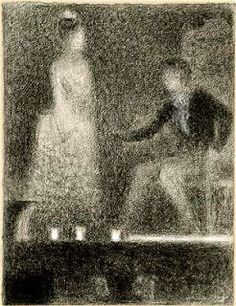 "Georges Seurat, ""Scene from a Play"" Circa 1887-1888 Conté Crayon and white chalk on laid paper"
