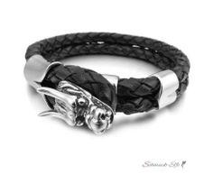 Armband Drache ECHT LEDER geflochten schwarz 316 L...