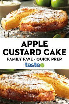 Curtis Stone's apple cinnamon custard cake is a delightful way to feed your family. #custard #cake #dessert #apples #australia #australian #australianrecipes Apple Dessert Recipes, No Cook Desserts, Sweets Recipes, Apple Recipes, Baking Recipes, Custard Desserts, Apple Cinnamon, Back Home, Yummy Cakes