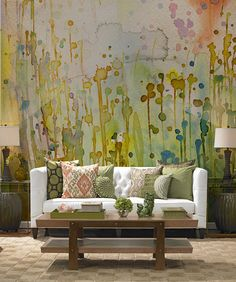 Paint Effects on Walls – Pixers - WATERCOLOR SPOTS Wall Mural Matt Vinyl 320 x 250 cm