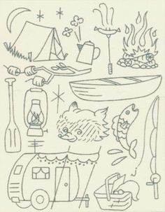 Camping embroidery patterns - not machine embroidery, but still cute