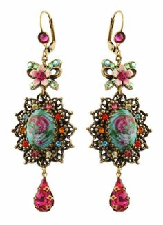 Michal Negrin Amazing Cameo Earrings Decorated w Fuchsia Crystals and Tear Drop | eBay