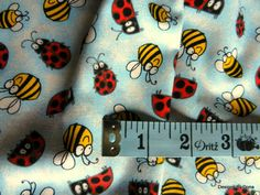 White Cute Timeless Treasure Ladybugs Fabric FQ SEWING DRESS QUILTING PATCH