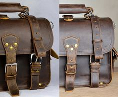 Leather Briefcase 14inches by Marlondo Leather via Etsy