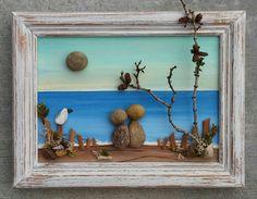 "Pebble Art, Rock Art, Pebble Art Couple, Rock Art Couple, on the beach, honeymoon,anniversary, vacation, ""open"" 8.5x11 frame (FREE SHIPPING)"