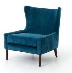 Shop this four hands kensington bella bayoux marlow wing chair from our top selling Four Hands living room chairs. LuxeDecor is your premier online showroom for living room furniture and high-end home decor. Blue Velvet Chairs, Blue Accent Chairs, Teal Furniture, Furniture Chairs, Handmade Furniture, Furniture Stores, Hardwood Furniture, Furniture Movers, Door Furniture