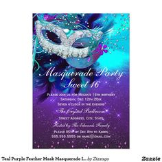 Sweet 16 Masquerade Invitation New Teal Purple Feather Mask Masquerade Invitation Masquerade Party Invitations, Masquerade Ball Party, Sweet 16 Masquerade, Birthday Invitations, Masquerade Theme, Invites, Masquerade Cakes, Halloween Masquerade, Quinceanera Invitations