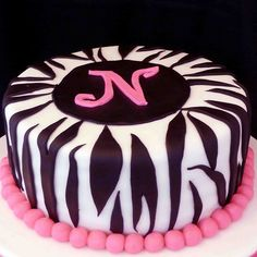 Zebra Stripes - I made this cake for a birthday. The cake is a white cake with strawberry buttercream filling. The cake covering and stripes are fondant and the N is gumpaste/fondant. This was a fun one! Zebra Birthday Cakes, Zebra Cakes, Funny Birthday Cakes, My Birthday Cake, Fondant Cakes, Cupcake Cakes, Cupcake Wrappers, 4th Birthday, Beautiful Cakes