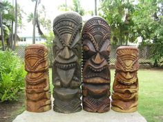 Here is a beautiful set of 4 Tikis depicting all four Hawaiian Tiki god: Tiki Ku, Lono, Kanaloa and Kane. Each totem measures on average 11 inches and the smaller ones are about 7  inches tall.    Perfect gift idea!