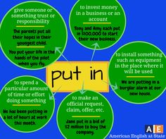 Phrasal verb 'Put in'.