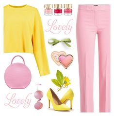"""pink and yellow ts"" by countrycousin ❤ liked on Polyvore featuring Theory, Boohoo, Mansur Gavriel, Ray-Ban, Too Faced Cosmetics, TS, topset, pindandyellow and pasteltopset"