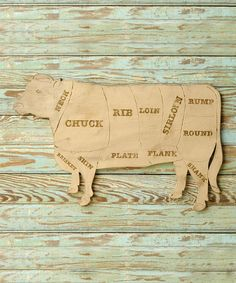 Butcher Shop Cow Meat Chart  - What every beef farm kitchen needs Wooden Wall Decor, Wooden Walls, Wooden Signs, Kitchen Wall Art, Home Decor Kitchen, Country Kitchen, Country Living, Meat Shop, Butcher Shop