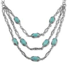Carolyn Pollack Jewelry   Wintergreen Faceted Amazonite Statement Necklace