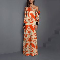 Product Sexy Shoulder Print Long Sleeved Maxi Dress Brand Name swankmyway SKU Gender Women Style Elegant/Sexy/Fashion Type Maxi Dresses Material Polyester Decoration Printing Please Note:All dimensions are measured manually with a deviation of 1 to Long Sleeve Maxi, Maxi Dress With Sleeves, Sleeve Dresses, Outfit Formal Mujer, Beautiful Dress Designs, Ladies Dress Design, Types Of Fashion Styles, Dress Brands, Sexy Dresses