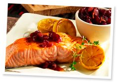 Ocean Spray Cedar Planked Salmon with Spiced Cranberry Relish Fish Dishes, Seafood Dishes, Fish And Seafood, Fish Recipes, Seafood Recipes, Cooking Recipes, Healthy Recipes, Cedar Plank Salmon, Cranberry Relish