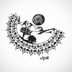 Mandala full moon forest mountain tattoo wild drawing design landscape elephant nature
