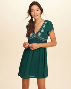 Embellished Babydoll Dress
