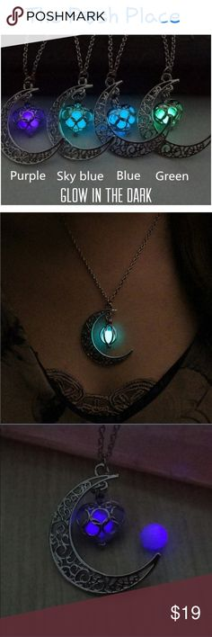 Crescent Moon Glow in the Dark Necklace Crescent Moon Glow in the Dark Necklace Rustic Silver Tone Chain Great for Evening Jewelry Necklaces