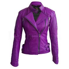 Women Purple Brando Pad Leather Jacket - Leather Skin - 3