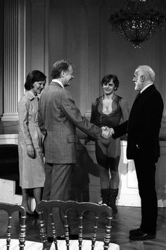 Carter, President Carter, Mikhail Baryshnikov and Jerome Robbins at the White House in Photographed on assignment for LOOK Magazine. By Daniel Sorine. Jerome Robbins, Mikhail Baryshnikov, Mrs Carter, Jimmy Carter, City Ballet, Rare Images, John F Kennedy, Dance Photography, Life Magazine