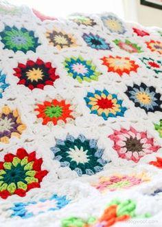 Tığ İşi Renkli Motifli Bebek Battaniye Yapımı 4