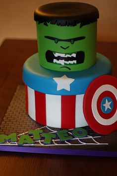 Captain America and Hulk birthday cake - This is exactly the same two superheros Ty wants!  Love it, but not great with fondant :(