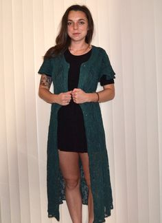 90s Grunge Green Lace Dress/Duster by MerlotMami on Etsy #hipster #softgrunge #90sgrunge #grunge #vintage #fashion #dress #lace #green #duster #kimono
