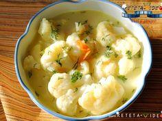 Ciorba de Conopida - imagine 1 mare Vegetarian Recipes, Cooking Recipes, Healthy Recipes, Romanian Food, Romanian Recipes, Healthy Soup, Soup And Salad, Soups And Stews, Soul Food