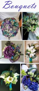 Bouquets in Peacock Colors