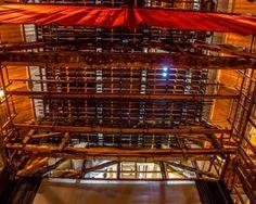 """Théâtre de DOUAI : machinerie des """"Dessus"""" le cintre vu depuis la scène . Photo A.S Hagen"""