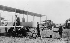 AIRCRAFT FIRST WORLD WAR 1914-1918. No. 3 Wing RNAS in Mudros. Farman F. 27 aircraft in the foreground.