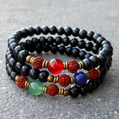 Ebony prayer beads, Rudraksha, aventurine, lapis lazuli, and carnelian guru beads mala bracelet set by #lovepray #jewelry