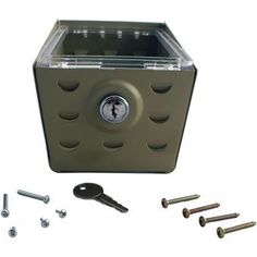Metal Thermostat Lock Box by Sealed Unit Parts. $23.49. Metal - 6.375 inches X 3.5 inches X 3.25 inches. Metal Thermostat Guard. Manufactured with the highest quality materials and production standards to ensure rugged dependability and attractive appearance. 18-22 Gauge Steel. Baked Enamel Finish. Louvered Cover. Maximum Protection. Locking Key. Mounting hardware. Vertical or Horizontal Mounting.
