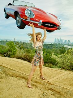 Supergirl's Melissa Benoist with a 1967 Jaguar E-Type on the Elysian Helipad in Los Angeles.  Photograph by Dewey Nicks.