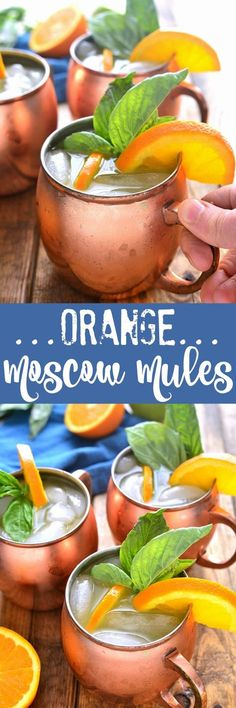 Orange Moscow Mules are a sweet and refreshing cocktail combining orange juice ginger and a hint of lime. Make just one or better yet make a whole batch - these mules are ALWAYS a hit! Refreshing Cocktails, Summer Drinks, Cocktail Drinks, Fun Drinks, Cocktail Recipes, Orange Juice Cocktails, Moscow Mule Recipe, Tapas, In Vino Veritas