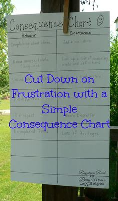 Consequence Chart for Moms and Kids Riggstown Road for Busy Mom's Helper --- Plan the appropriate punishment/consequences when you can think of appropriate ones, instead of when you're mad! Gentle Parenting, Parenting Advice, Kids And Parenting, Parenting Classes, Foster Parenting, Parenting Styles, Mindful Parenting, Peaceful Parenting, Consequence Chart