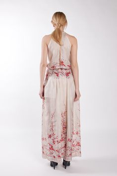 Cherry blossom flower print silk dress. Formal. Summer wedding.Maxi dress. $299.00, via Etsy.
