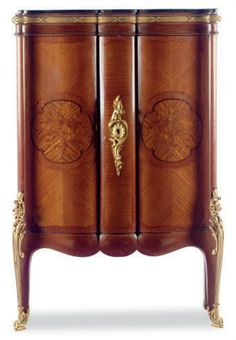 A FRENCH GILT-BRONZE MOUNTED MAHOGANY AND MARQUETRY MARBLE-TOP CABINET, 20TH CENTURY