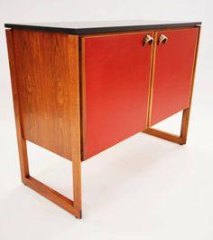 Jens Risom; Walnut, Leather, Stone and Brass Cabinet, c1960.